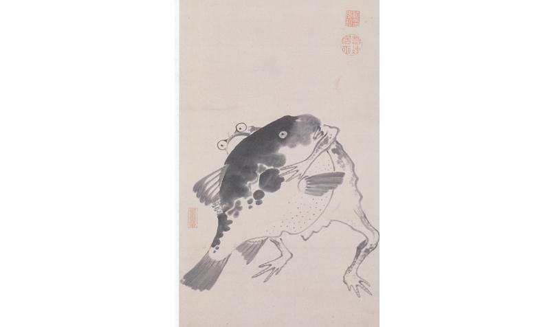 河豚と蛙の相撲図