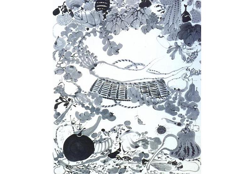「涅槃図」。登場人物が野菜に置き換わって描かれている。
