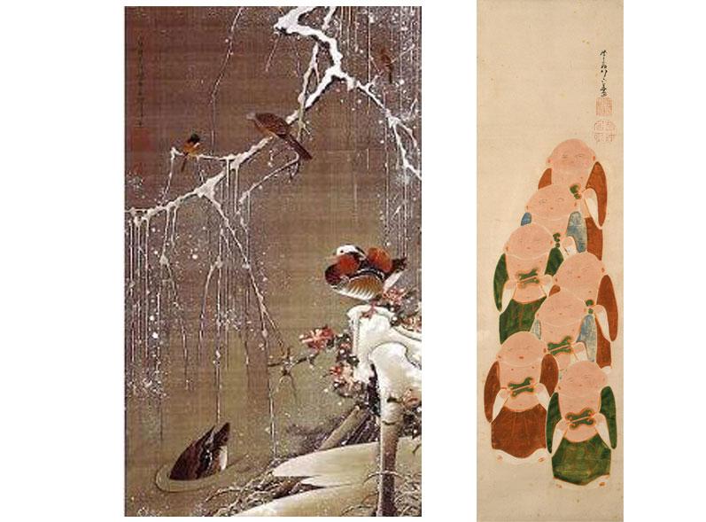 右は晩年の作品。住職が穏やかな表情で描かれている。