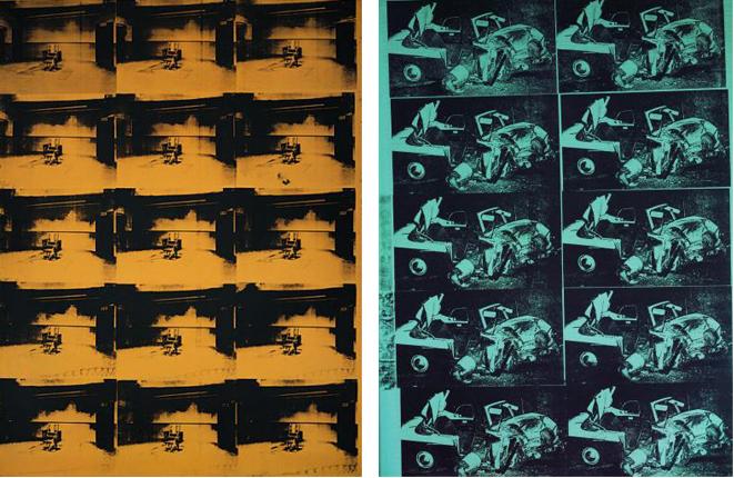 (左)アンディウォーホル「緑色の惨事10回」(1963年) (右)「電気椅子」(1963年)
